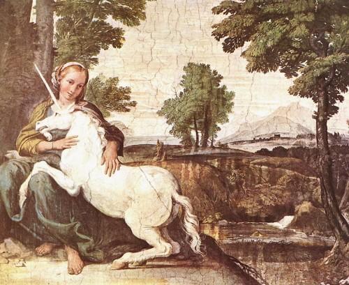 A virgem e um unicórnio