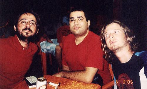 Luiz Biajoni, Alex Castro e Gustavo Brigatti, em histórico encontro no Rio de Janeiro em março de 2005.