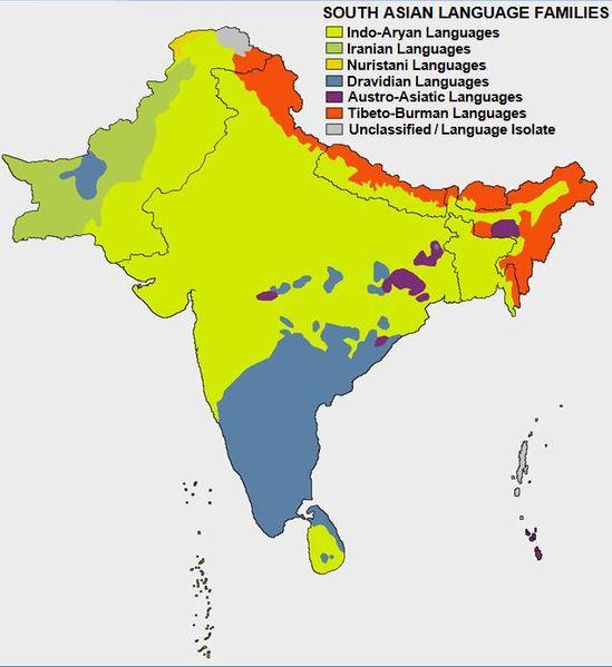 Famílias de Idiomas no Sul da Ásia