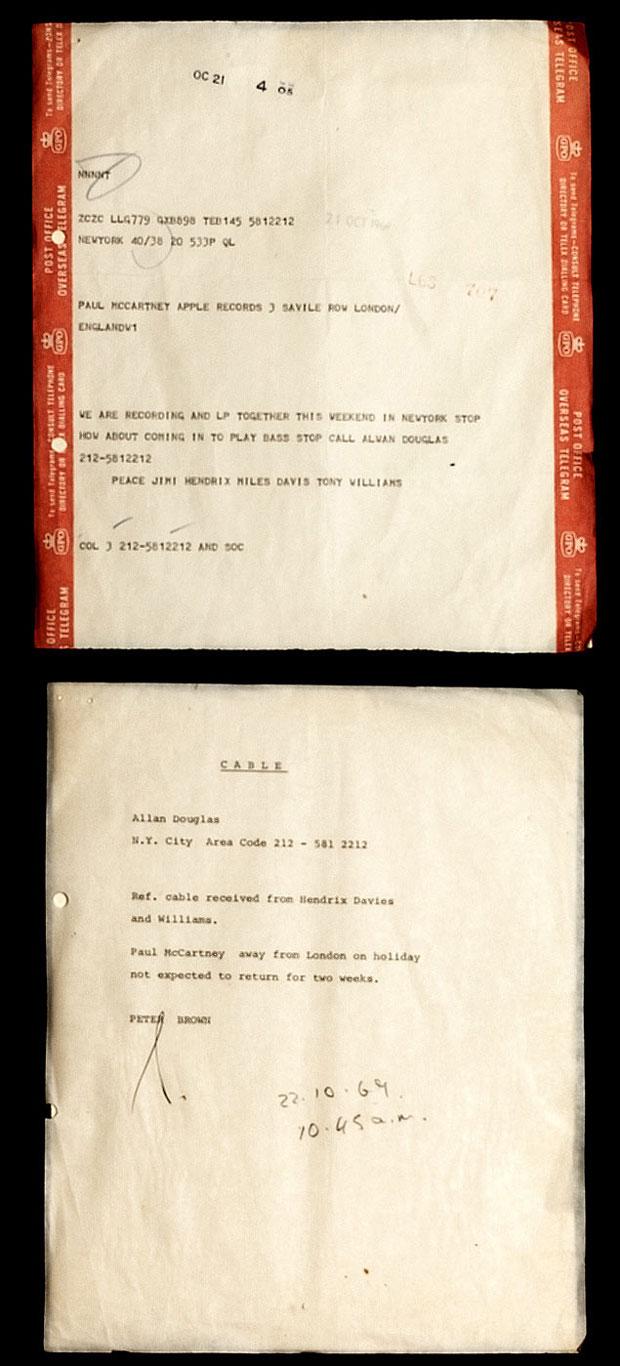 Telegrama enviado por Jimi Hendrix a Paul McCartney em 1969, convidando o ex-Beatle para um parceria musical ao lado de Miles Davis