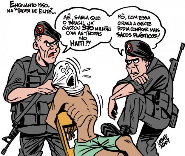 Tropa de Elite e Haiti, por Latuff.
