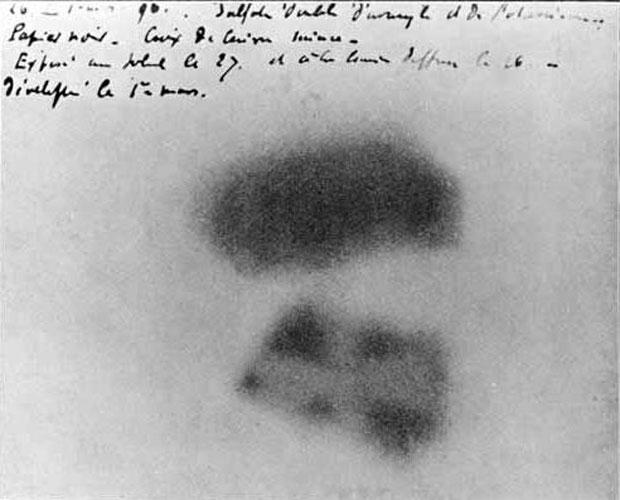Filme em que Becquerel percebeu pela primeira vez que o Urânio tinha uma propriedade peculiar.