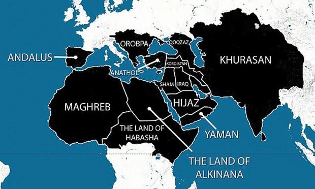 A marcação negra mostra os territórios ansiados pelo Estado Islâmico